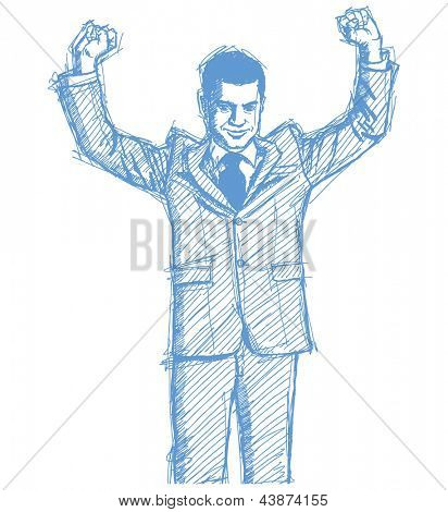 Sketch, comics style happy businessman with hands up, celebrating his victory