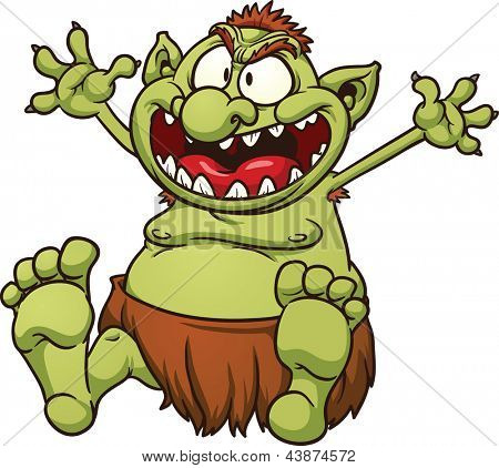 Fat cartoon troll. Vector clip art illustration with simple gradients. All in a single layer.