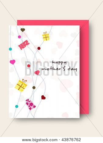 Floral decorated, Greeting or Gift card for Happy Mothers Day celebration.