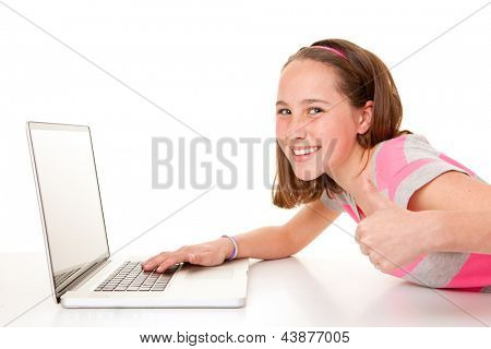 happy smiling teen child  with laptop computer