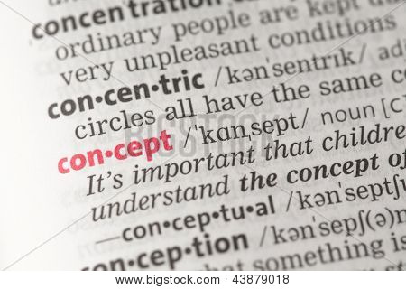 Concept definition in the dictionary