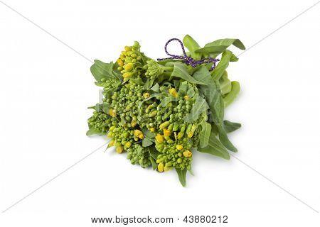 Bouquet fresh broccolini on white background