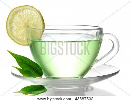 Transparent cup of green tea with lemon, isolated on white