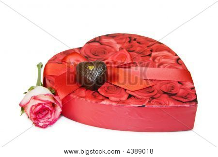 I Love You Heart Box Of Chocolates Isolated On White