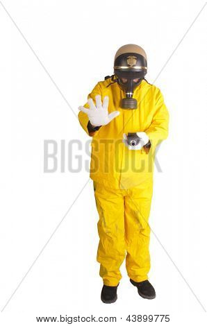 Police officer with Geiger counter in hazmat suit isolated over white