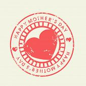 Grungy rubber stamp for Happy Mothers Day celebration. poster