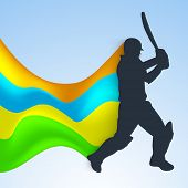 Cricket batsman in playing action on colorful waves background. poster