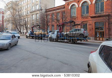Samara, Russia - November 7: Evacuation Vehicle For Traffic Violations  On November 7, 2013 In Samar