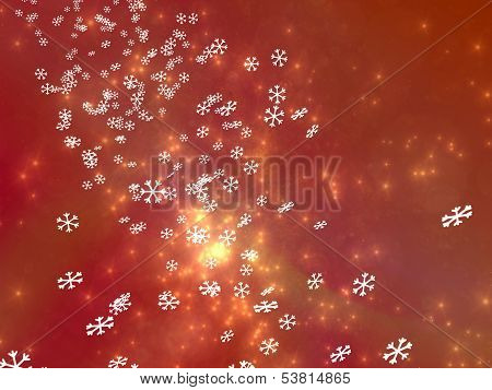 Numerous falling snowflakes on a red background