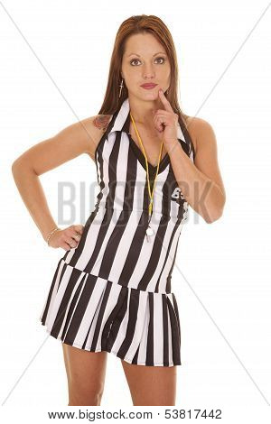 Woman Referee Thinking