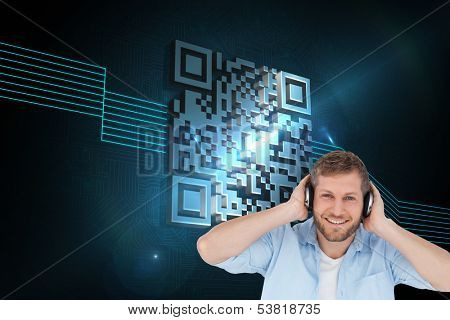 Composite image of trendy model listening to music and looking at camera poster