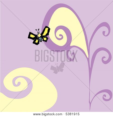 Sixties Psychedelic butterfly flying past swirls with shadow. poster