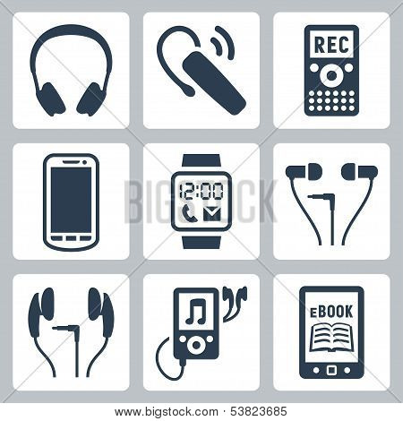 Vector gadgets icons set: headphones wireless headset dictaphone smartphone smart watch MP3 player ebook reader poster