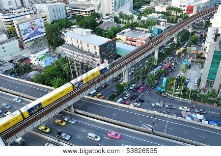 Bts Skytrain Runs On Elevated Rails, Bangkok - Jul 20