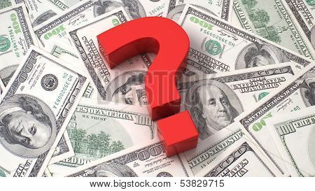 Question Mark On The Dollar Background