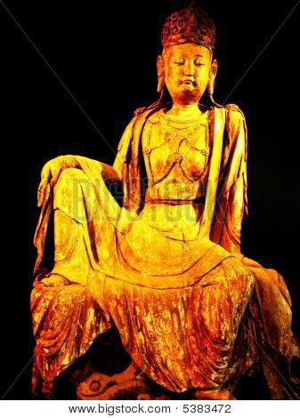 Wood Carved Statue Of A Chinese Lady