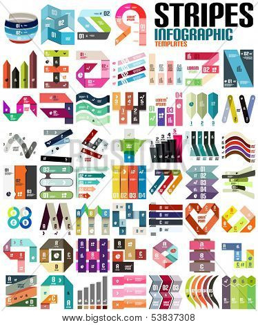 Big set of infographic modern templates - stripes, ribbons, lines. For banners, business backgrounds, presenations