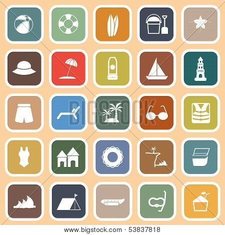 Beach Flat Icons On Orange Background