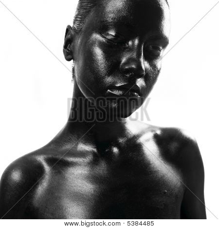 Fashion portrait of made up black woman poster