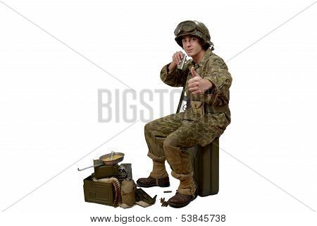 Young American Soldier  Shows Is Ready