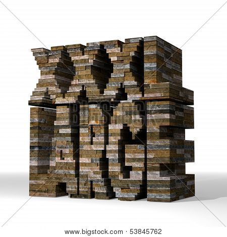 3D Graphic Of A Large Xl Symbol  Built Out Of Stones