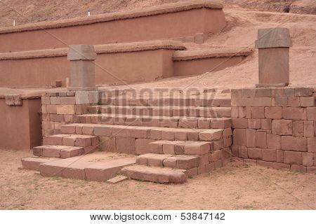 Stairs of Pyramid Akapana at ancient Tiwanaku Ruins, Bolivia