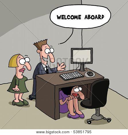 New female office worker cartoon gag