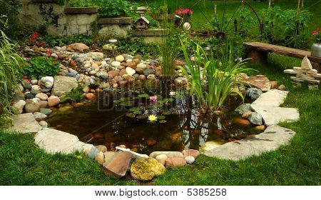 Backyard oasis pond beautifully landscaped with lilies and waterfall poster
