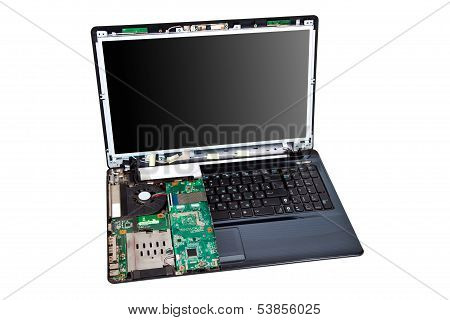 Laptop Half Disassembled. Repair Service Concept