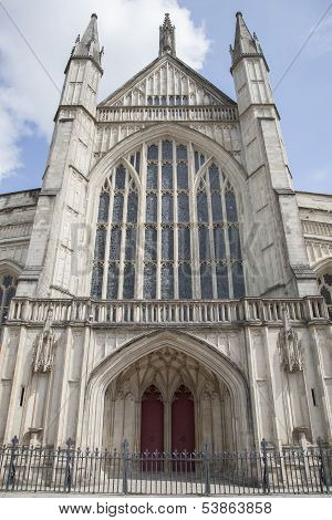 Facade of Winchester Cathedral Church; England UK