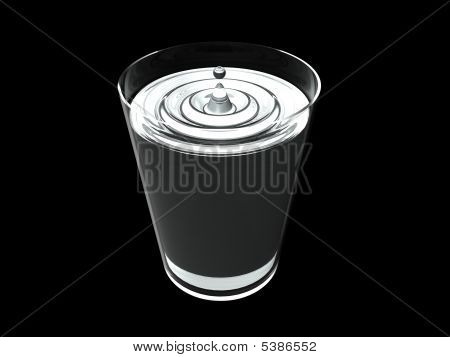 Glass Of Water And Waterdrop