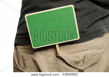 Wooden Sign On Male Pants