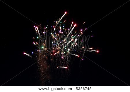 The colour Fireworks on dark nigt sky poster