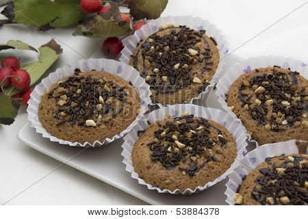 Tasty Muffin With Chocolate And Almond Cakes