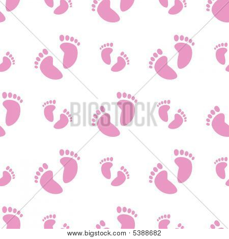 Seamless Baby Feet Background (Girl)