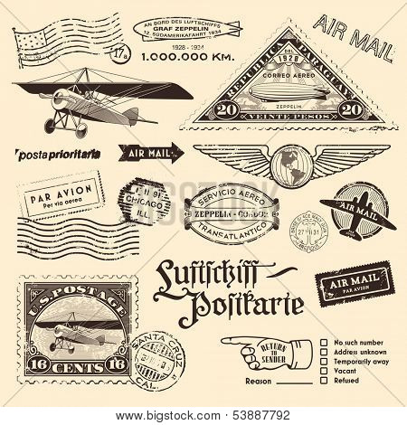 "air mail stamps and other postage design elements translation: ""Luftschiff-Postkarte"" - ""airship-postcard"", the zeppelin-shaped stamp refers to the 12th travel of an airship to South America in 1934 poster"