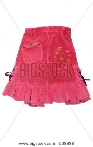Red Children Girl Mini Skirt Isolated