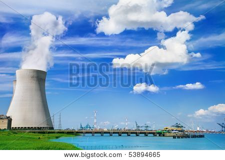 Doel Nuclear Power Station on the bank of the Scheldt river