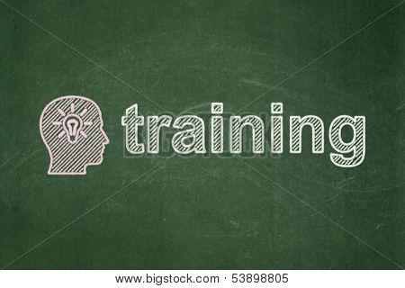 Education concept: Head With Light Bulb and Training on chalkboard background