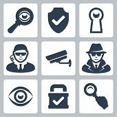 Vector spy and security icons set: magnifying glass shield heyhole security man surveillance camera spy eye lock poster