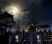 Night scene in the moonlight, in the lights of the city poster