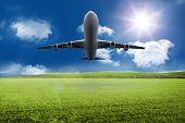 3D plane taking off over grassland poster