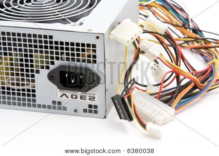 Used ATX computer power supply on white background poster