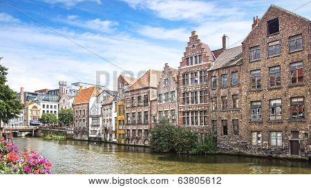 Historic buildings along the Leie river. Ghent