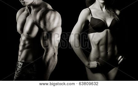 poster of Bodybuilding. Strong man and a woman posing on a black background