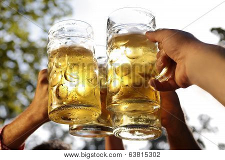 People drinking beer at the beer garden
