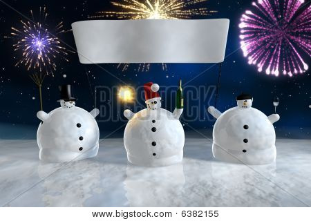 Drunk Funny Snowmen With Banner