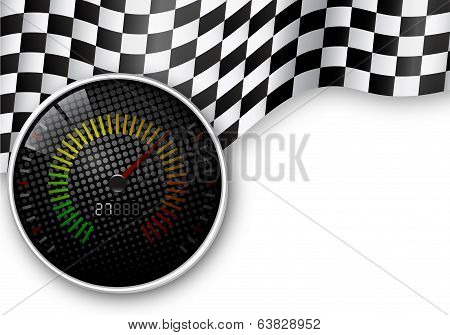 Speedometer and Checkered Flag Background
