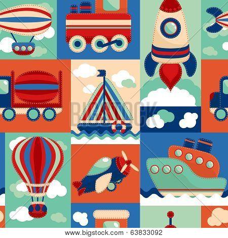 Transport toy seamless pattern