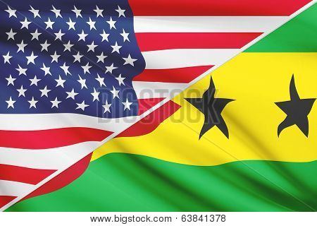 Series Of Ruffled Flags. Usa And Democratic Republic Of Sao Tome And Principe.